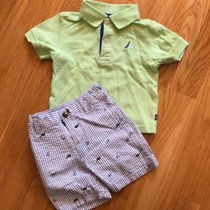 Toddler Nautica shirt and short set